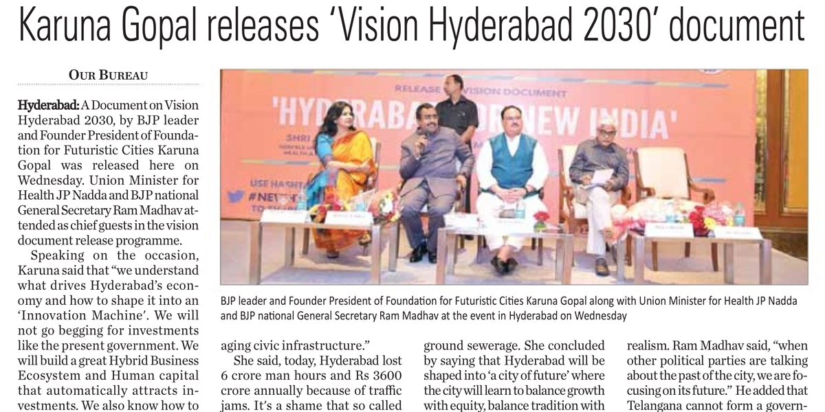 Released 'VISION HYDERABAD 2030' document